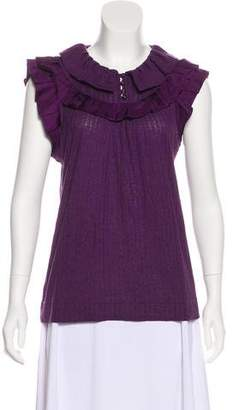 Marc by Marc Jacobs Ruffled Satin-Trimmed Top
