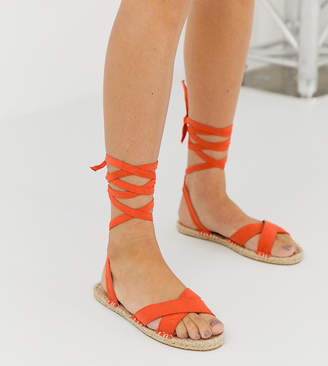 Asos Design DESIGN Jala espadrille flat sandals in orange