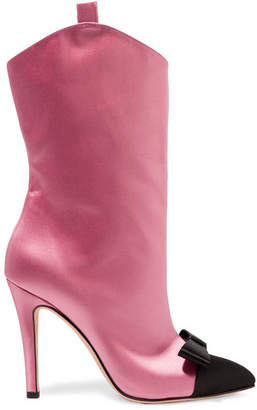 Alessandra Rich - Bow-embellished Two-tone Satin Ankle Boots - Baby pink