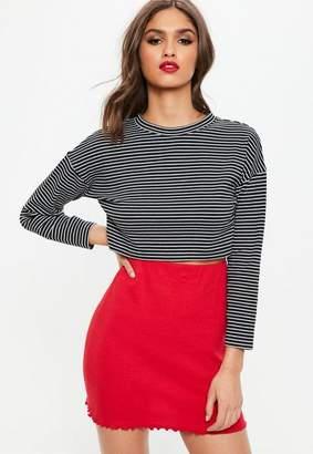 Missguided Petite Black Stripe Drop Shoulder Sweatshirt