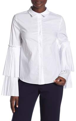 ENGLISH FACTORY Pleated Long Sleeve Shirt