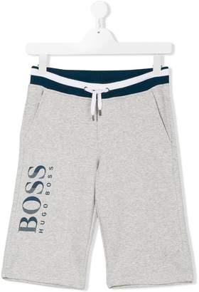 Boss Kids TEEN logo print track shorts