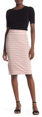 BCBGeneration Striped Midi Pencil Skirt