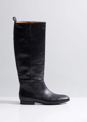 Jil Sander Navy Tall Leather Boots