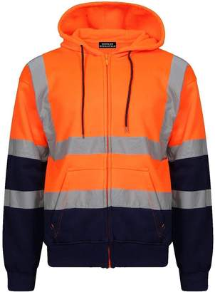 New High Visibility Hi Viz Vis Pullover Hoodie Fleece 2 Tone Hooded Sweatshirt