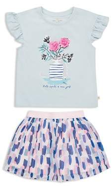 Kate Spade new york Girls' Mesh-Flower Top & Printed Skirt Set - Little Kid