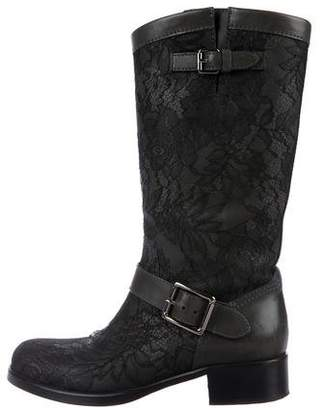 Valentino Lace Knee-High Boots