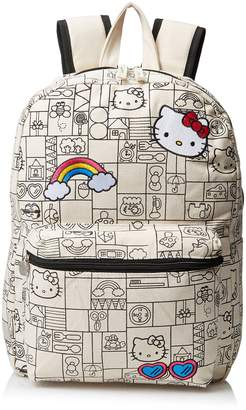 """Hello Kitty Girls Natural Canvas 16"""" Backpack"""
