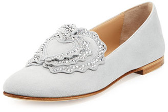 Crystal-Embellished Suede Loafer, Light Gray
