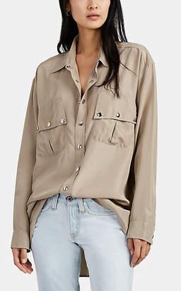 Faith Connexion Women's Silk Satin Military Shirt - Beige, Tan