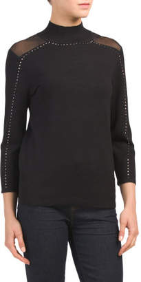 Mock Neck Studded Pullover Sweater
