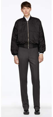 Random Identities Black Satin Bomber Jacket