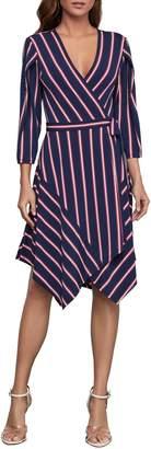 BCBGMAXAZRIA Valet Stripe Three-Quarter Sleeve Wrap Dress