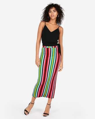 Express High Waisted Stripe Side Slit Pencil Skirt