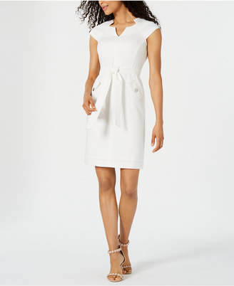 Kasper Belted Textured Sheath Dress