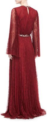 Sachin + Babi Vidya Long-Sleeve Embellished Lace Gown