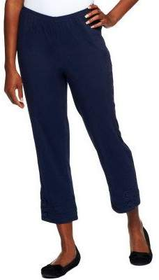 "Denim & Co. How Timeless"" Stretch Pull-on Crop Pants with Button Detail"