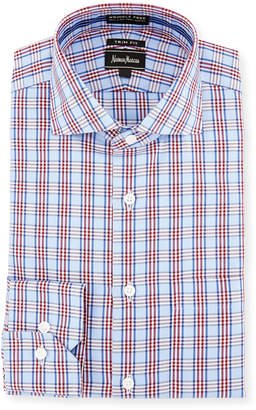 Neiman Marcus Trim-Fit Non-Iron Plaid Dress Shirt, Red