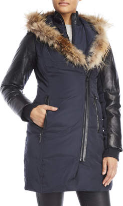 Atelier Noir By Rudsak Carrie Real Fur Trim Hooded Down Coat