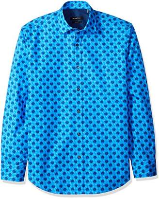 Bugatchi Men's Bubbles Print Shaped Fit Point Collar Shirt