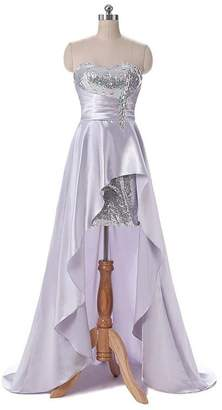QiJunGe Women's High Low Sequin Homecoming Dresses Satin Formal Party Gowns