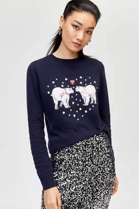 Next Womens Warehouse Blue Polar Bear Christmas Jumper