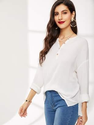 1ec329aea82bd9 Shein Drop Shoulder Button Half Placket Solid Shirt