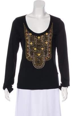 Just Cavalli Long Sleeve Embellished Top