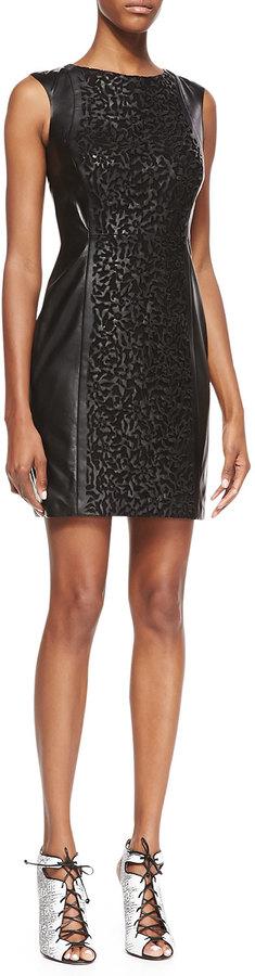 Vakko Sleeveless Laser-Cut Leather Dress, Black