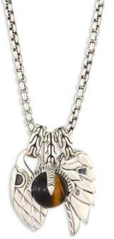 John Hardy Classic Chain Tigers Eye& Sterling Silver Pendant Necklace