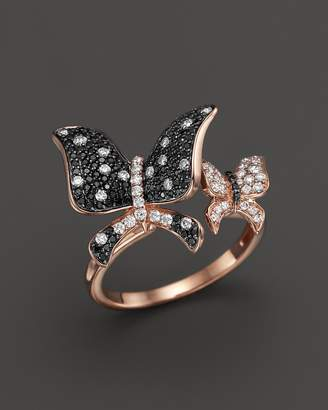 Bloomingdale's Black and White Diamond Butterfly Statement Ring in 14K Rose Gold - 100% Exclusive