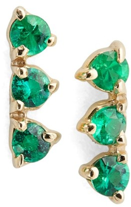Women's Wwake Counting Collection Three Step Emerald Statement Earrings (Nordstrom Exclusive) $520 thestylecure.com