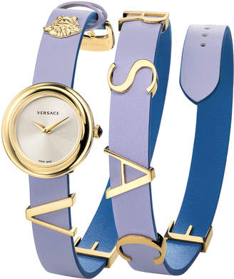 Versace 28mm V-Flare Leather Wrap Watch Gold\/Purple