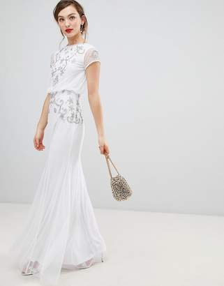 Frock And Frill Frock & Frill Capped Sleeve Chiffon Overlay Maxi Dress With Embellished Detail