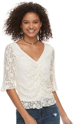 American Rag Juniors' Ruched Lace Top