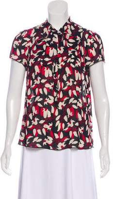 Anna Sui Short Sleeve Floral Blouse