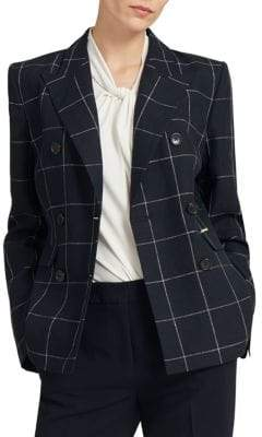 Donna Karan Window Plaid Linen Blazer