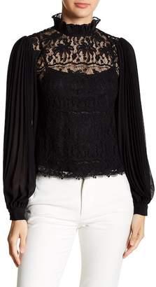 Gracia Pleated Sleeve Lace Blouse
