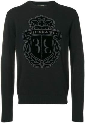 Billionaire logo patch sweater
