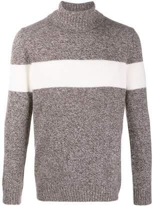 Fay striped knit roll neck jumper