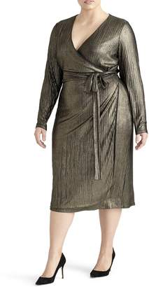 Rachel Roy Collection Pleated Metallic Wrap Dress