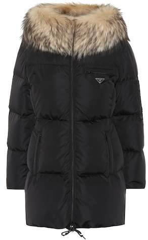 Fur-trimmed quilted down jacket