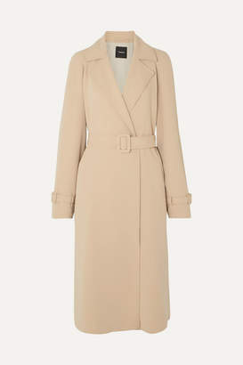 Theory Belted Crepe Trench Coat - Beige