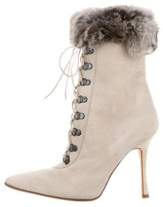 Manolo Blahnik Fur-Trimmed Ankle Boots