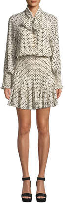 Figue Carlita Long-Sleeve Polka Dot Silk Dress