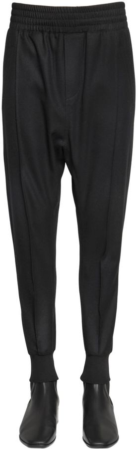 Wool Blend Twill Jogger Pants