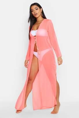 c5806c7960837 boohoo Neon Maxi Beach Kimono