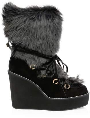 Stuart Weitzman Nikita Lamb Fur-Trim Suede Platform Wedge Boots