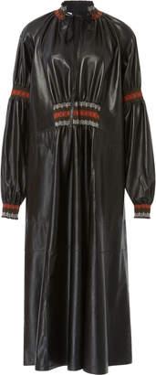 Loewe Smocked Leather Dress