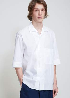 Lemaire Cotton Mesh Convertible Collar Shirt